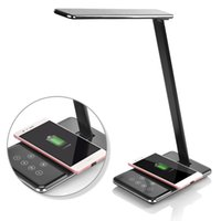 Wholesale Wireless Charger Ac - LED Desk Lamp with Qi Wireless Charger Folding Eye-friendly Table Lamps 4 Color Modes Book Light with Wireless Desktop Charger USB charging