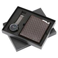 männlicher geschenkset großhandel-Armbanduhr männer brieftasche geschenkset für männer mode lässig herren quarzuhr stahl armreif luxus geschenk für männer reloj