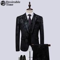 модный свадебный мужской костюм оптовых-Men Black Wedding Suit Prom Dress Tuxedo Slim Fit Fashion Flower Patchwork Mens 3 Piece Suit Designer Formal Suits for Men DT534