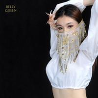 продажа лицевой вуали оптовых-High quality cheap women  belly dance face veil tribal belly dancing veils for sale 9 colors available