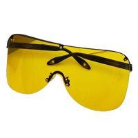 Wholesale pink big lens glasses resale online - Goggle Sunglasses For Women Colorful Lens Fashion Design Transparent Sunglasses For Women Big Frame Mirror Glass
