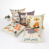 Wholesale Duck Pillows - Thanks Giving Style Cotton Linen Cushion Cover Squirrel   Foxes   Duck Printed Pillow Case For Sofa Car Home Decorative