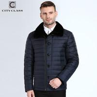Wholesale Fur Coat Models - City Class New Winter Bio Down Men Jacket Diagonal Zipper Coats Top Model 2018 Business Casual Overcoat 8xl Brand Clothing 16828