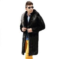 Wholesale Fox Mink Coats - Wholesale- Best selling!Winter men faux fur coat Black fashion warm splice mink coat Soft and comfortable Fox fur collar long faux fur coat