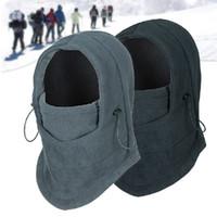 Wholesale novelty balaclava - Thermal Fleece Balaclava Hat Hooded Neck Warmer Winter Sports Face Mask for Men Bike Helmet Beanies Masked cap