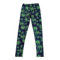 mavi yeşil tozluklar toptan satış-Seksi Elastik Pantolon 3D Dijital Baskı Mavi-yeşil yapraklar Desen Kadın Tayt 7 boyutları Spor Giyim Ücretsiz Kargo