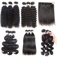 gevşek örgü saç uzantıları toptan satış-3 veya 4 Brezilyalı Işlenmemiş Bakire Insan Saç Demetleri Düz Vücut Gevşek Derin Kıvırcık Dalga Saç Uzantıları 8A Perulu Hint Örgü Fiyatları