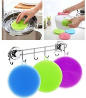 Wholesale Foam Sponges - 500Pcs lot Multi-fonction Magic Silicone Dish Bowl Cleaning Brushes Scouring Pad Pot Pan Wash Brushes Cleaner Kitchen Accessories 8 Colors