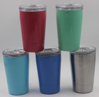 Wholesale kids clear glasses - 5 colors 12oz Kid Milk Cups 12oz mini tumbler Vacuum Insulated Beer Mugs Stainless Steel Wine Glasses Coffee Mugs With Clear Lids & Straws