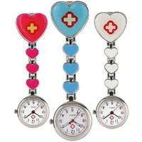 Wholesale unisex heart shaped glasses resale online - New design nurse love heart shape cross FOB pocket watches unisex ladies women hang slip quartz doctor watches