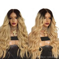 Wholesale hot sexy blondes - Hot Sexy 180% Density Ombre Golden Blonde Long Curly Wavy Wigs With Baby Hair High Temperature Glueless Synthetic Lace Front Wigs For Women