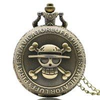 relógio de bolso de uma peça venda por atacado-Antique Bronze Pirate Skull One Piece Pingente De Quartzo Relógio De Bolso Colar De Presente