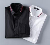 manschettenknöpfe geschäft lässig großhandel-Großhandels-Neue 2018 Qualitätsmann-Hemden-Designer-Marken-Mode-Geschäfts-beiläufiges Smokinghemd mit französischen Manschettenknöpfen Mannhemd M-XXXL # 65