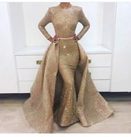 novos skirts designs venda por atacado-New Impressionante manga comprida vestidos de baile de ouro Saia destacável com a agitação 2 peças vestido de noite Australia Design 1702