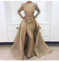 nuevos diseños de faldas al por mayor-Nuevos Impresionantes vestidos de fiesta dorados de manga larga Falda desmontable con bullicio Vestido de noche de 2 piezas Australia Design 1702