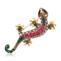 Wholesale lizard jewelry wholesale - Pin Crystal Jewelry Alloy Brooch Diamond Retro Gold Brooch Lizard House Lizard Four Claw Brooch Temperament Female Fashion Women Accessories