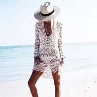 Wholesale crochet beach wear - Cover Up Hollow Out Crochet Swimsuit Beach Sarongs Dress Tunic Women Swimwear 2018 Summer Lady Cover Ups Bathing Suit Beach Wear