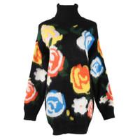 suéteres de flores para mujer al por mayor-Retro Turtle Neck Knitwears para mujer diseñador de ropa Femme ropa de invierno cálido estampado de flores suéter moda mujer ropa