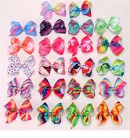 Wholesale hair clips bow lace - JOJO SIWA 12cm LARGE Rainbow Signature HAIR BOW wich clip baby girl Children Hair Accessories fashion hair clip Rhinestone Jojo B11