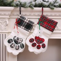 Wholesale plush cuffs for sale - Originality Plush Christmas Stocking Blanks Plaid Decor Cuff Gift Holder Dogs Paw Shape Socks Arrangement Party Supplies Green Red yh jj