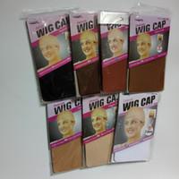 perruques élastiques achat en gros de-12pcs (6 sacs) élastique unisexe perruque doublure cape snood nylon étirement nylon maille beige / noir / casquettes de perruque brune pour faire des perruques