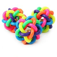 Wholesale toys small rubber balls - CW027 Pet toy Dog Cat Toy Colorful Rubber Round Ball with Small Bell Novelty Toy free size Woven ball dog favorite