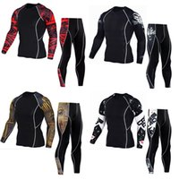 Wholesale yellow skin suit - Mens Sports Running Set Compression Shirt + Pants Skin-Tight Long Sleeves Fitness Rashguard MMA Training Clothes Gym Running Suits