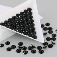 Wholesale Bulk Elements - Crystal Glass No Hotfix Rhinestone SS3-SS30 High Quality Flat Silver Backs Round Rhinestones In Bulk (Jet)