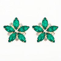 büyük moda saplama küpeler toptan satış-Moda Sıcak Satış Tam Kadınlar Için Rhinestone Damızlık Küpe Vintage Kristal Büyük Çiçek Küpe Düğün Hediye E076