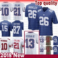 Wholesale barkley jersey for sale - 26 Saquon Barkley New York Gaints Jersey Eli Manning Odell Beckham Jr Brandon Marshall Landon Collins Shepard Simms cheap