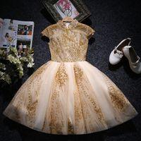 ingrosso abiti arabi per matrimoni-Gold Kids Pageant Dress 2018 New Flower Girl Dresses For Weddings Collo alto Manicotto del merletto Tulle Arabo Ragazze Prom Abiti spedizione veloce