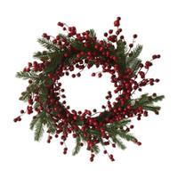 ingrosso decorazione bacca-1 Pc / lotto Nuovo design decorazioni di Natale 20 pollici abete rami grande misto Berry Wreath spedizione gratuita