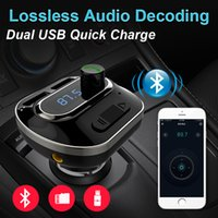 Wholesale tf card play - Bluetooth Car Kit YT19 FM Transmitter Aux Modulator Handsfree Support TF Card U Disk Play Voltage Detection Dual USB Car Charger