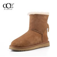 Wholesale snow boots sheep - Free shipping>2016 CCE Fashion Top Quality Genuine leather keep warm Women boots,Sheep Fur Snow boots,keep warm women shoes,5532