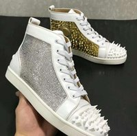 Wholesale rhinestone studded - Mutil spikes Hi Top Studded Spikes With Rhinestone Casual Flats Red Bottom Luxury Shoes New For Men and Women Party Designer Sneakers