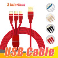 Wholesale Multifunctional in Cell Phone Cables Cord Braided USB Charger cable For iPhone Android Micro USB High Speed Type c With Metal Head Plug