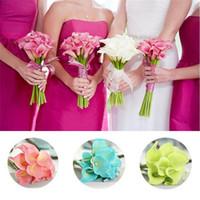 ingrosso bouquets di anniversario-Calla Lily Bouquet da Sposa 34 CM Lungo Singolo Fiore Artificiale Fiore di Seta 13 Opzioni colore per la decorazione della casa anniversario di matrimonio