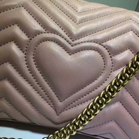 Wholesale Women Body Chains - 2018 new latest female lady woman fashion G LOVE heart design letter chain crossbody shoulder handbag real leather flap bag 26cm