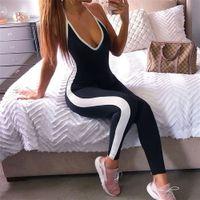 vêtements de fitness pour femmes achat en gros de-Vêtements de fitness Yoga Femmes 2018 Combinaison de sport solide monobloc à rayures Running Tight à séchage rapide Combinaison Yoga Set Femme