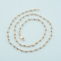 Wholesale Smart Bead Ball - whole sale1pcs Women Girls Smart 3mm Beads Necklace Rose 585 Gold Color Jewelry Link Ball Chains