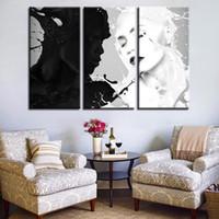 amor negro pinturas blancas al por mayor-Impresiones de lienzo Cartel Decoración para el hogar Enmarcado 3 Piezas Blanco y negro Figura Pinturas Arte de la pared Sin límites Amor Imágenes
