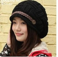 Wholesale curling hat for sale - Group buy Korean version of the thermal protection ear Knitted Wool Hat Lady winter fashion curling side hat L825
