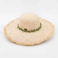 Wholesale Woven Trim - Muchique Woven Raffia Fray Edge Sun Hats for Women Summer Straw Hat with Leaves Trim Large Brim Floppy