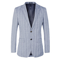 Wholesale Linen Suits For Men Wedding - Striped Mens Blazer Slim Fit Suit Jacket for wedding 2 button french Style cotton linen Blue Male Blazers Costume Homme