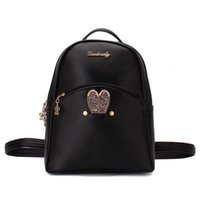 Wholesale custom school backpacks - Backpacks Women Custom Stylish cartoon Bags Bunny Kid's School Bag For Boys Girls Black Leather Backpack for Girls Schoolbag