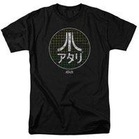 jeux vidéo japonais achat en gros de-Atari Japanese Grid Classique Jeu Vidéo Adulte Hommes T-shirt Noir T-shirt O - Cou Mode Casual Haute Qualité Imprimer Top Tee