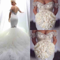 Wholesale shine wedding gown - Gorgeous Mermaid Wedding Dresses 2018-2019 Shining Beaded Off The Shoulder Bridal Gowns Backless Tulle Sweep Train Wedding Vestidos