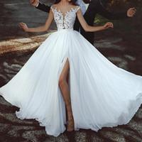 şifon dreses toptan satış-Romantik Dedi Mhamad Düğün Dreses Seksi Yan Yarık Vestido De Noiva Dantel Aplikler 2018 Gelinlik Boho Line Şifon Gelin Elbise