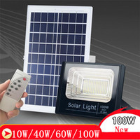 Wholesale garden floods - Solar Floodlight 10W 40W 60W 100W Outdoor Flood Lights IP65 Flood Spotlight Solar Powered LED Flood Light Outdoor Wall
