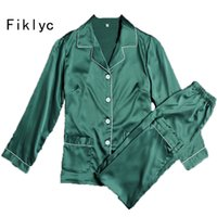 Wholesale Green Satin Pajamas - Fiklyc Brand Long Pants Pajamas Sets for Women Green Satin Ladies Nightwear Luxury Turn -Down Collar Home Wear Sexy Lingerie